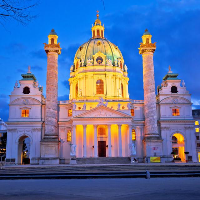 """""""Karlskirche church of Vienna evenig view"""" stock image"""