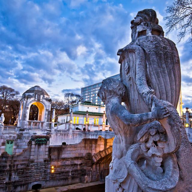 """Vienna Stadtpark monumental architecture dusk view"" stock image"