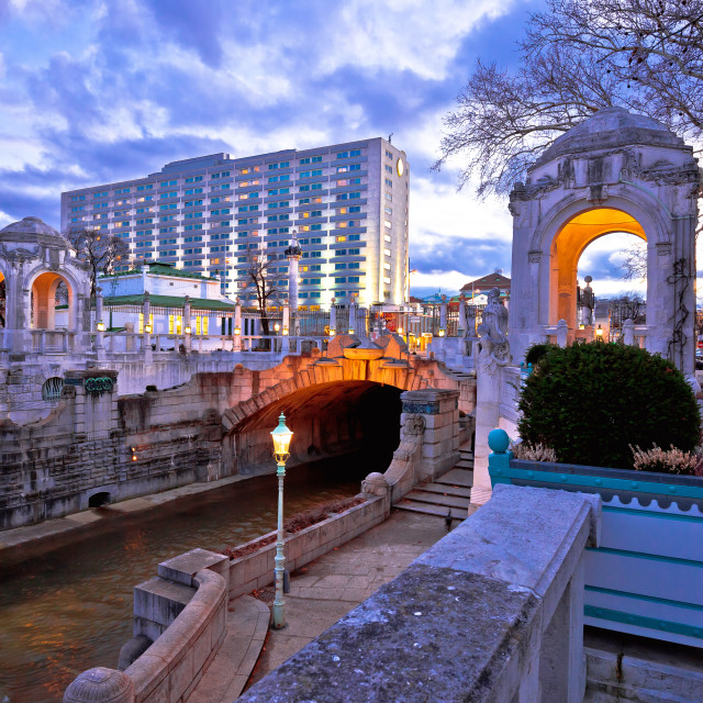 """""""Vienna Stadtpark monumental architecture and river dusk view"""" stock image"""