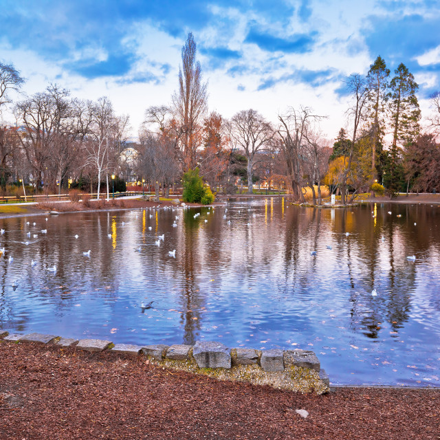 """""""Vienna city park Stadtpark lake and landscape winter view"""" stock image"""