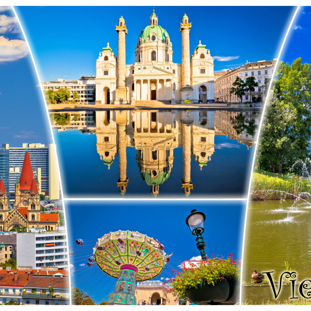 """""""Vienna postcard city architecture and nature view with label"""" stock image"""