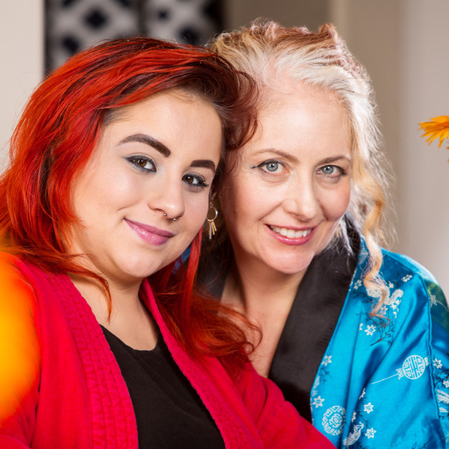 """Smiling Mother and Daughter"" stock image"