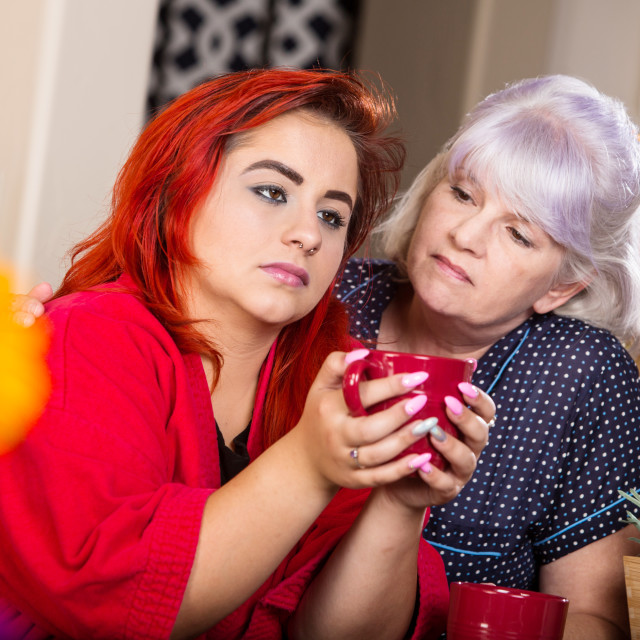 """Sad Mother and Daughter"" stock image"