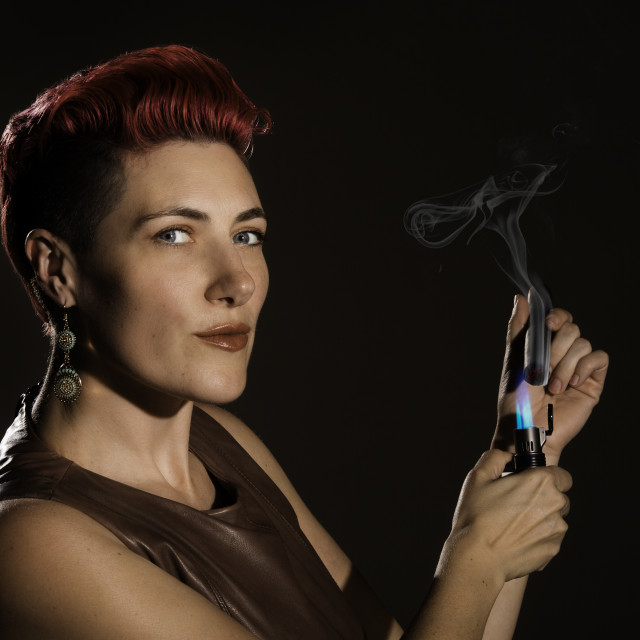 """Modern Woman with Cigar"" stock image"