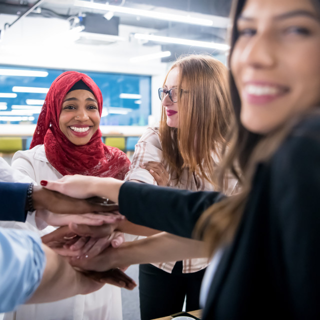 """""""multiethnic Group of young business people celebrating success"""" stock image"""