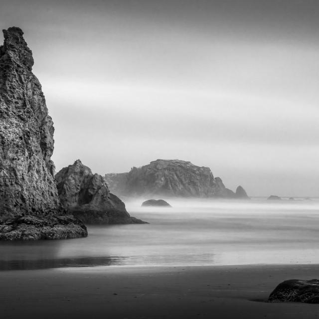 """""""Black and White Oregon Coast"""" stock image"""