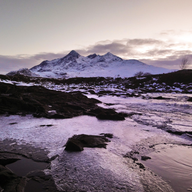 """Snow On The Cuillins 001"" stock image"
