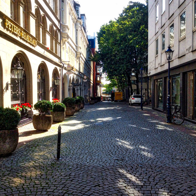 """""""Cologne and Cobblestone Street"""" stock image"""