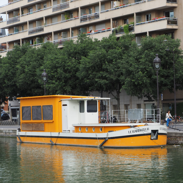 """Barge Le Barboteur is moored in Paris"" stock image"