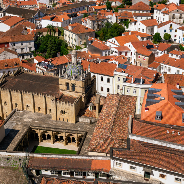 """View across the rooftops of Coimbra"" stock image"