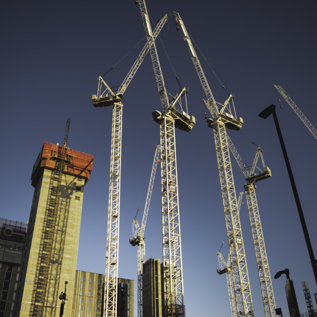 """""""Manchester's Cranes"""" stock image"""
