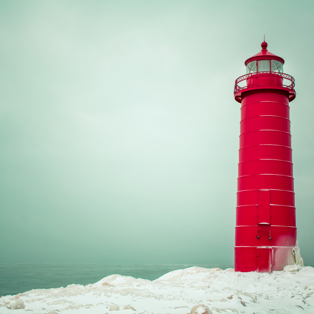 """""""Winter day at the Grand Haven Lighthouse"""" stock image"""