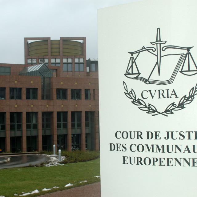 """""""Luxembourg Kirschberg European Court of Justice / Hof van Justitie / Cour de Justice des Communautes Europeennes / Europäischer Gerichtshof ."""" stock image"""