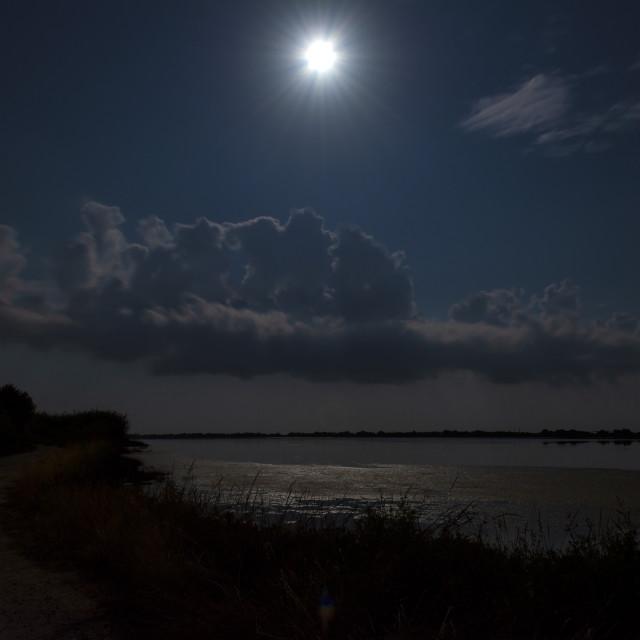 """""""Night scenery. Full moon over lake at Corfu. Greece."""" stock image"""