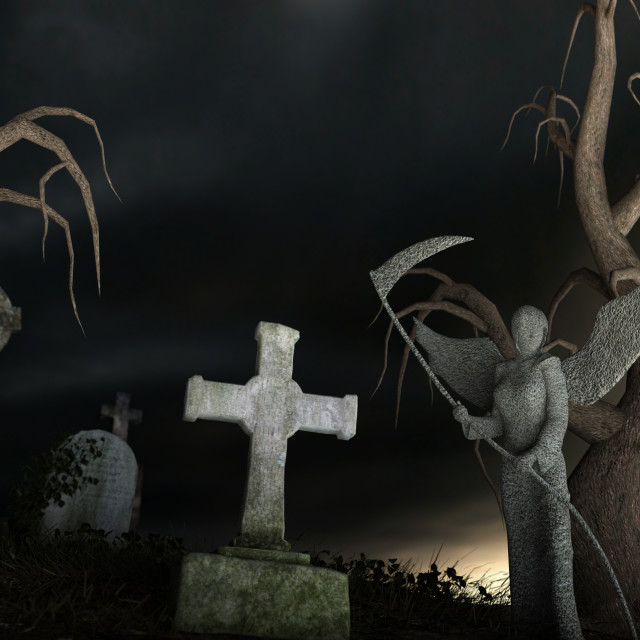 """""""Stony Angel of Death in a spooky cemetery"""" stock image"""