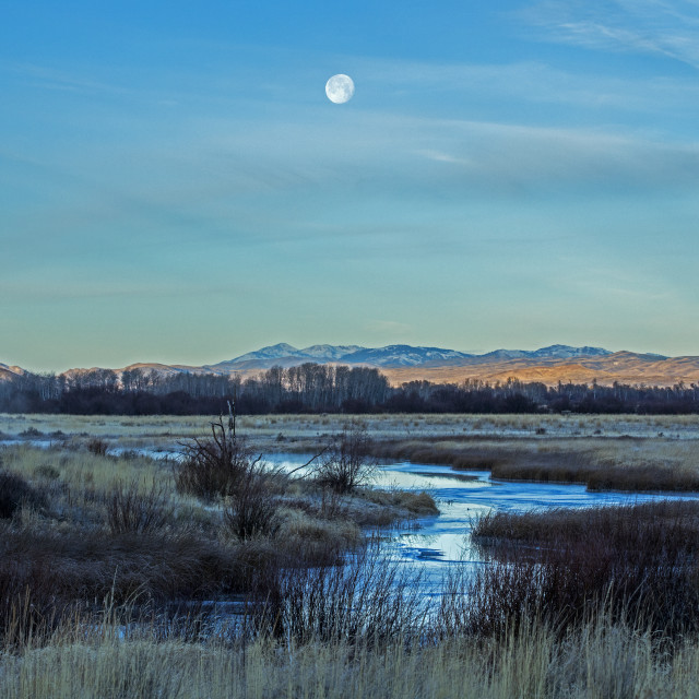 """""""Moon above river in Picabo, Idaho"""" stock image"""