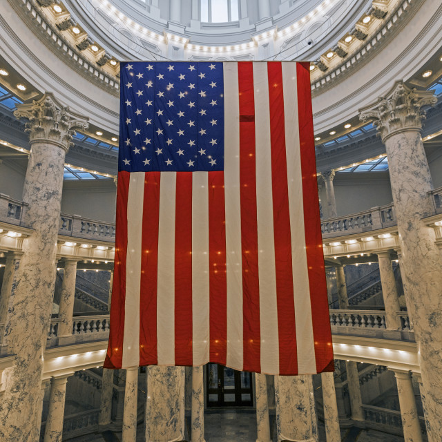 """""""American Flag hanging in Idaho State Capitol"""" stock image"""