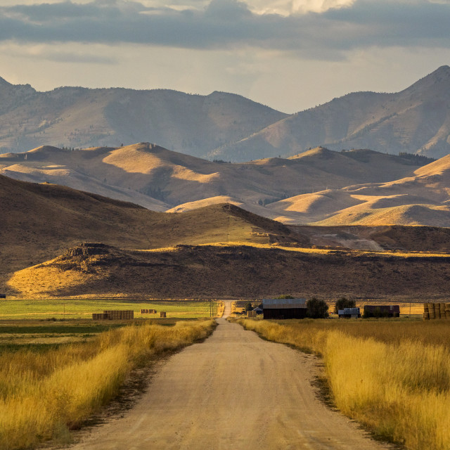 """""""Road to mountains in Fairfield, Idaho"""" stock image"""