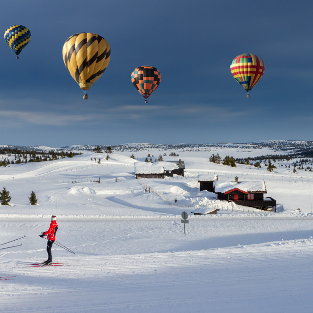 """Cross country skiing in Norway."" stock image"