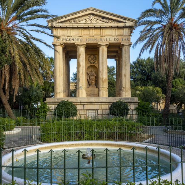 """Doric temple commemorating Sir Alexander Ball in the Lower Barrakka Gardens, Valletta, Malta"" stock image"