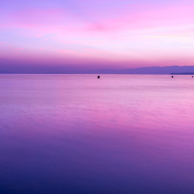 """""""Sunset. Peaceful. Colorful. Water. Violet. Leman. Lake. Sky"""" stock image"""