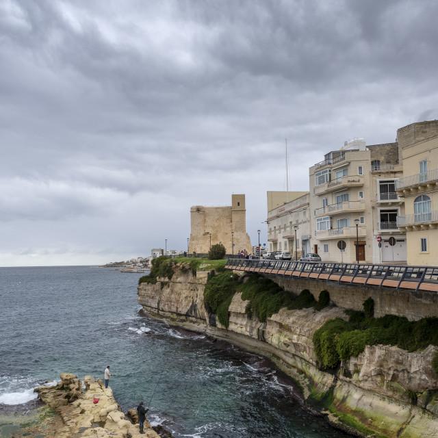 """Wignacourt Tower, St Paul's Bay, Malta"" stock image"