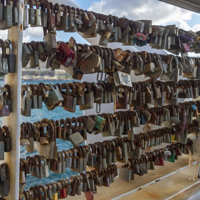 """""""Padlocks, 'love locks, on a bridge overlooking Valletta, Malta."""" stock image"""