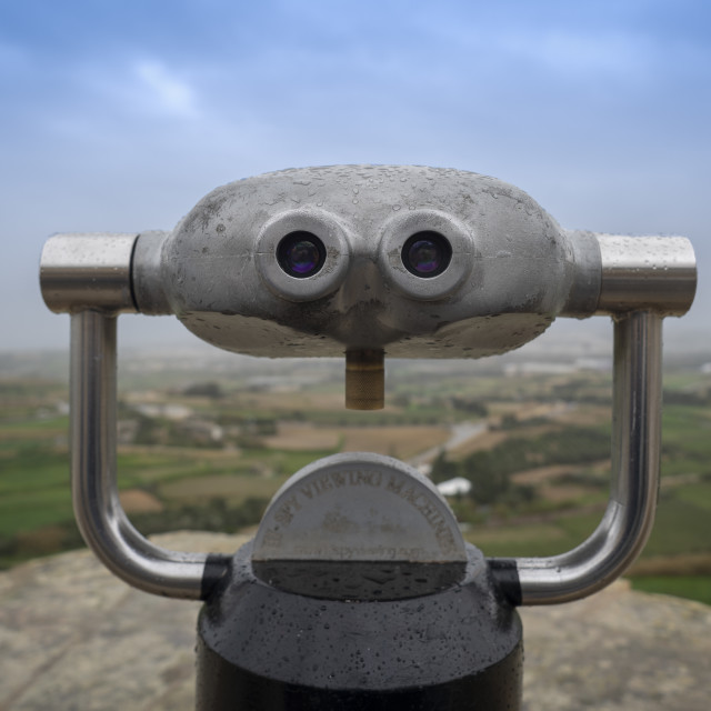 """metal binoculars at a viewing point, Mdina, Malta"" stock image"