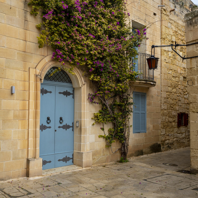 """Blue doorway in the 'silent city' of Mdina, Malta."" stock image"