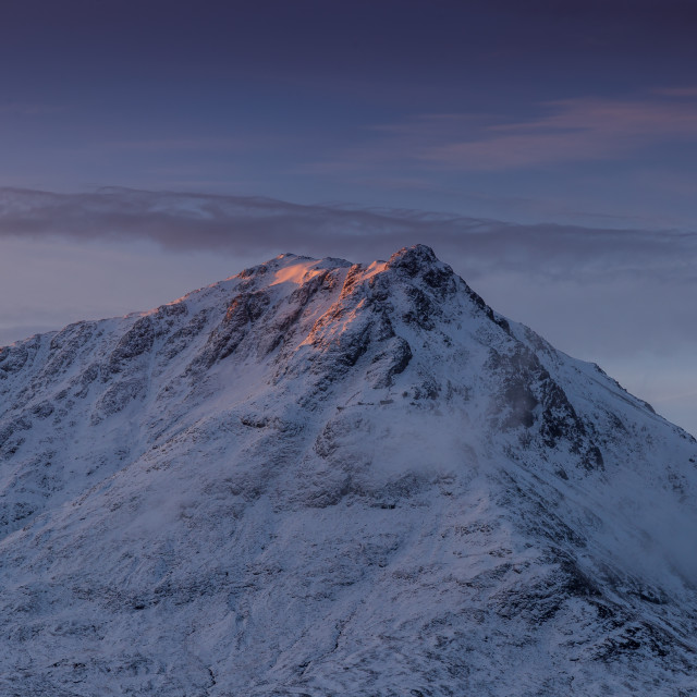 """Mountain nature landscape winter snow ice in Glencoe Scotland"" stock image"