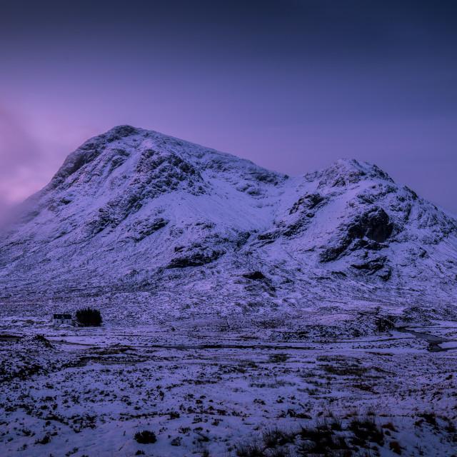 """Sunrise winter snow mountain landscape in Glencoe Scotland"" stock image"