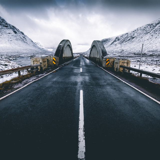 """Open road winter snow mountain landscape in Glencoe Scotland"" stock image"