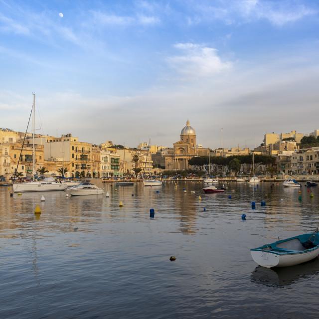 """The picturesque harbour front at Kalkara, Valletta, Malta"" stock image"