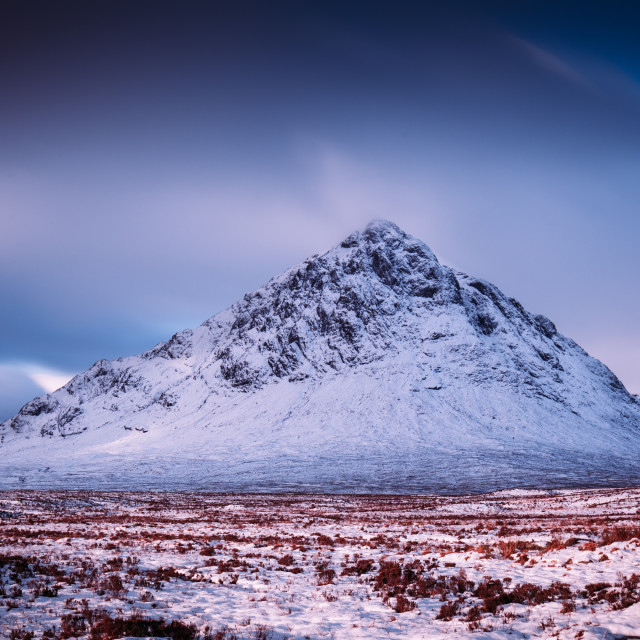 """Mountain nature landscape winter snow ice in Glencoe Scotland"" stock image"
