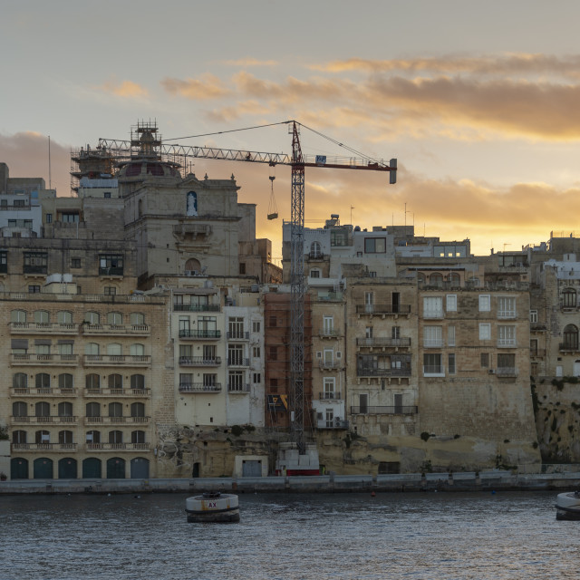 """View across the harbour from Vittoriosa to Senglea, Malta"" stock image"