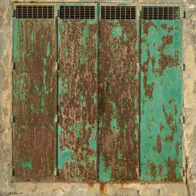 """""""rusty green metal doors"""" stock image"""