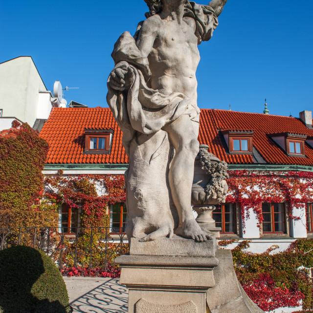 """Mercury Statue of Vrtba Garden in Prague"" stock image"