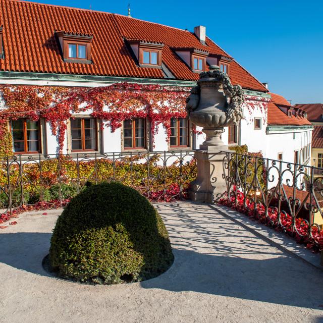 """Terrace of Baroque Vrtba Garden in Prague in autumn glory"" stock image"