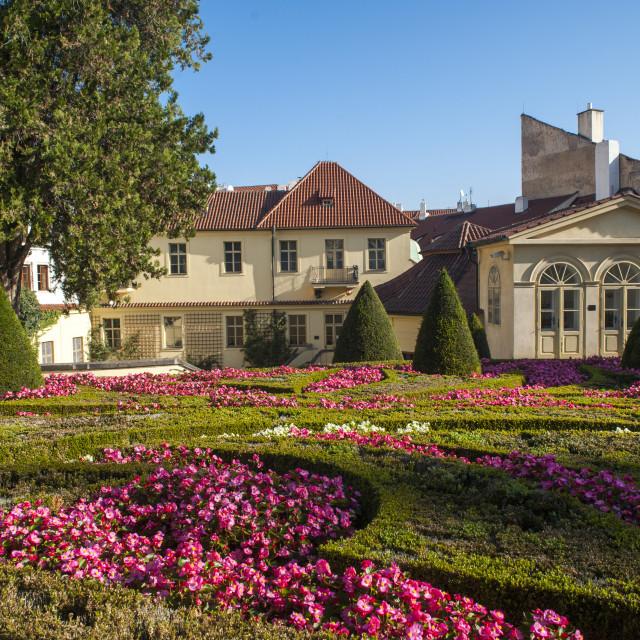 """Lower terrace of Vrtba Baroque Garden in Prague at Autumn"" stock image"
