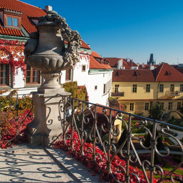 """Vrtba Garden terrace with stoned vase in Prague in autumn time"" stock image"