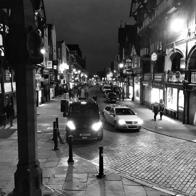 """Bridge Street, Chester. From The Cross."" stock image"