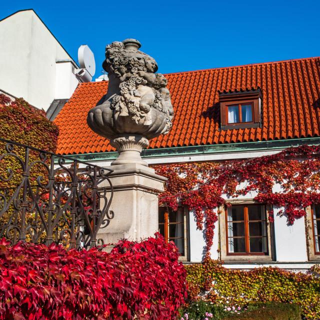 """Historical building and decorative vase of Vrtba Baroque Garden"" stock image"
