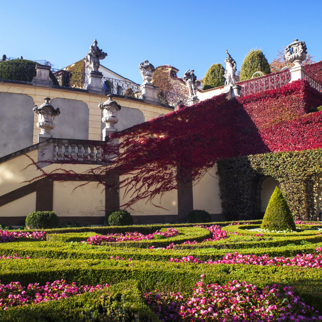 """""""Colorful lower terrace and staircase of Vrtba Garden in Prague"""" stock image"""