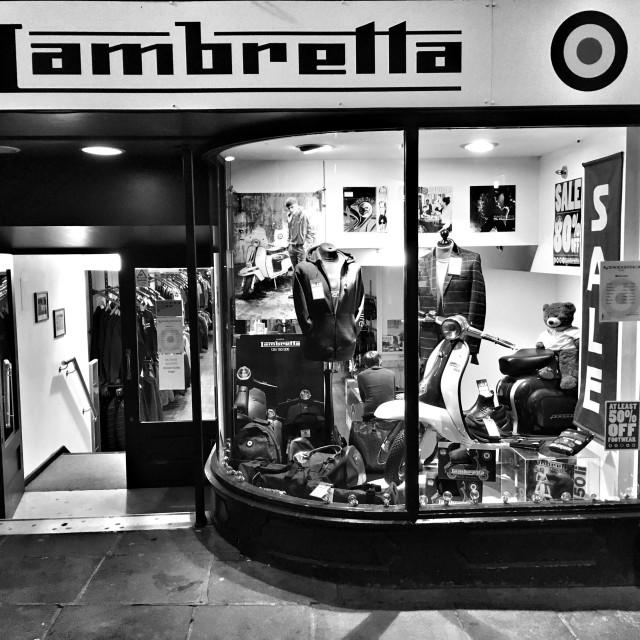 """""""Lambretta shop, Northgate Street, Chester."""" stock image"""