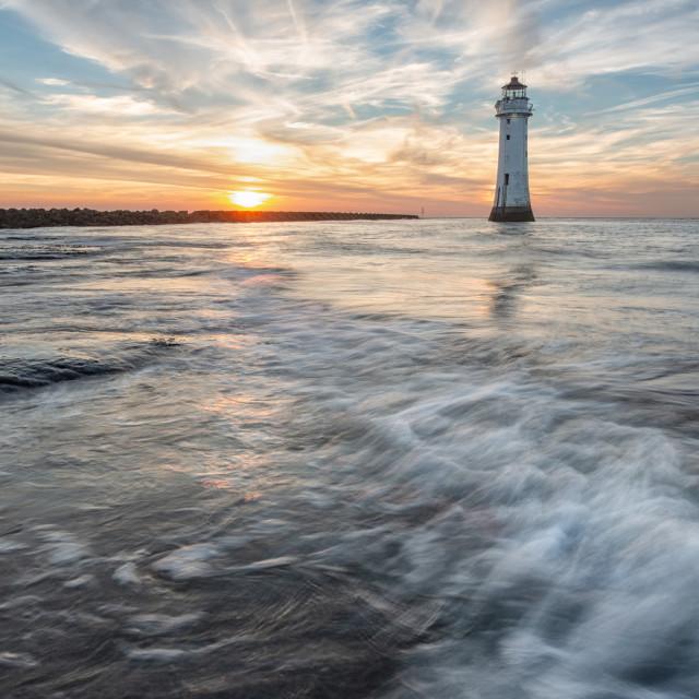 """New Brighton sunset"" stock image"