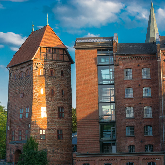 """View of a hotel in the German city of Lüneburg"" stock image"