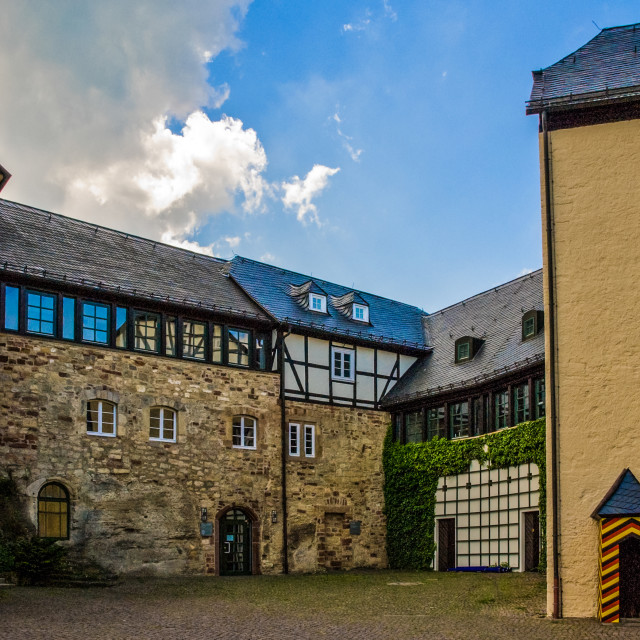 """""""Ancient inner yard of old castle in Germany"""" stock image"""