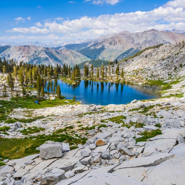 """Mosquito lake, Kings Canyon NP, California"" stock image"