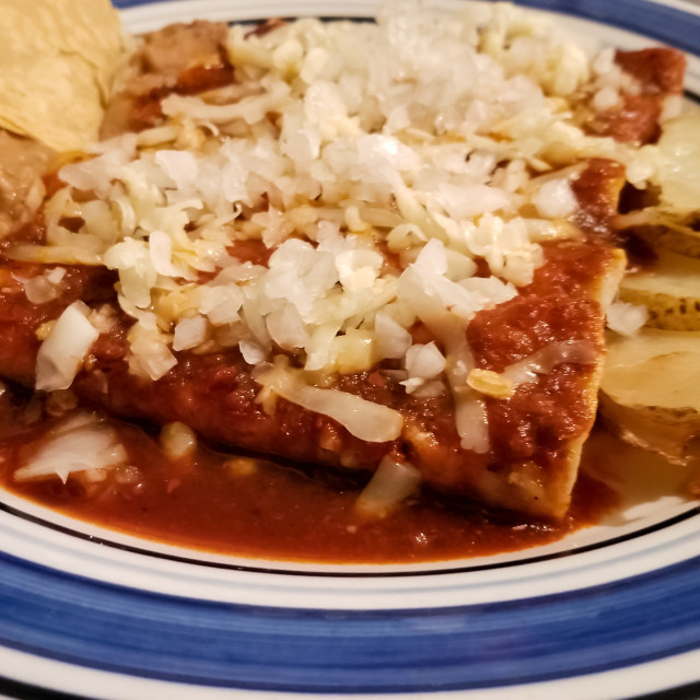 """""""Close-up of delicious red enchiladas, typical mexican food"""" stock image"""