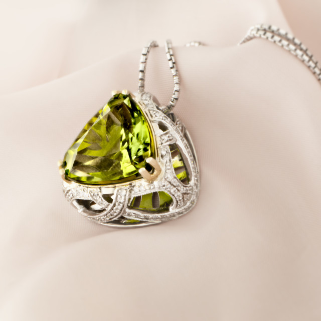 """White Gold Pendant With Peridot And Diamonds"" stock image"